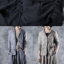 Laden Sie das Bild in den Galerie-Viewer, Organic Square Collar linen clothes Photography black short coats fall