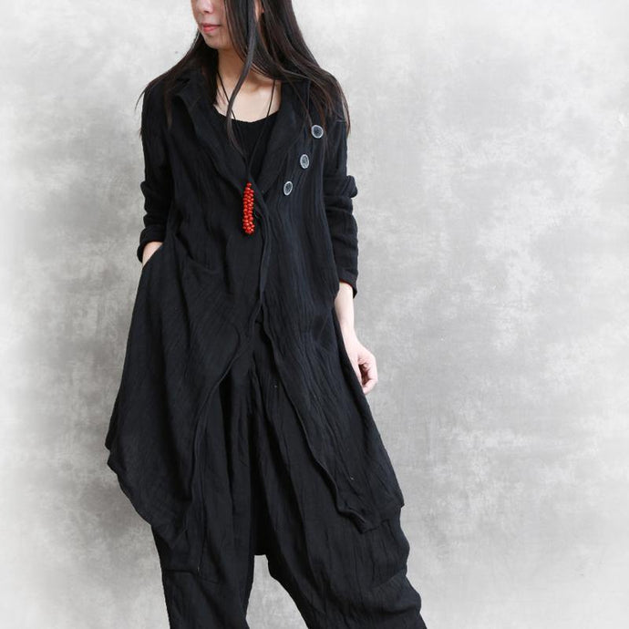 Organic asymmetric linen clothes design black top fall