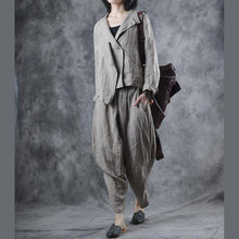 Laden Sie das Bild in den Galerie-Viewer, Organic asymmetric linen tunic outwear Sewing nude stand collar coats fall