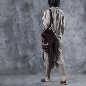 Organic asymmetric linen tunic outwear Sewing nude stand collar coats fall