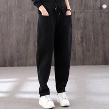 Load image into Gallery viewer, Organic black pants stylish drawstring elastic waist Outfits women trousers