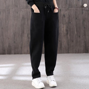 Organic black pants stylish drawstring elastic waist Outfits women trousers