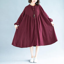 Load image into Gallery viewer, Organic burgundy linen clothes For Women Fashion Ideas stand collar exra large hem Dress