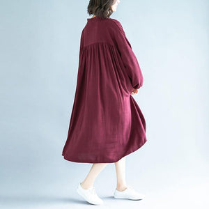 Organic burgundy linen clothes For Women Fashion Ideas stand collar exra large hem Dress