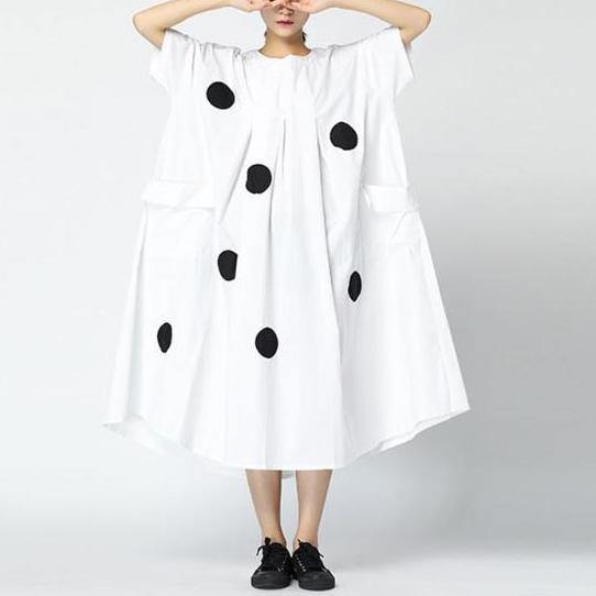 Organic cotton blended Wardrobes Stitches Dots Loose Round Neck Retro Midi Dress