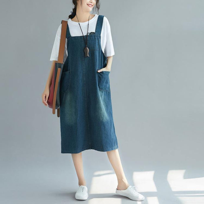 Organic denim blue Cotton dresses Casual Catwalk Spaghetti Strap Plus Size Dress