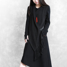 Load image into Gallery viewer, Organic false two pieces cotton asymmetric quilting clothes Fabrics black A Line Dresses