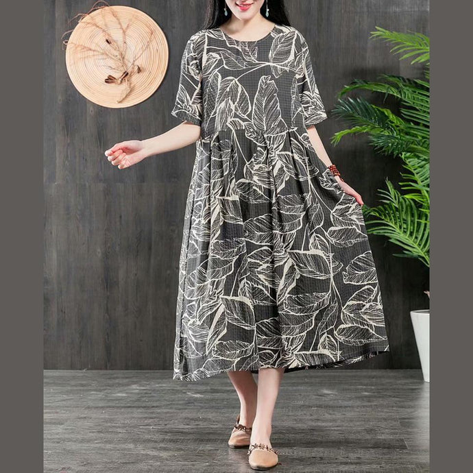 Organic gray floral Cotton tunics for women o neck wrinkled short patchwork summer Dresses
