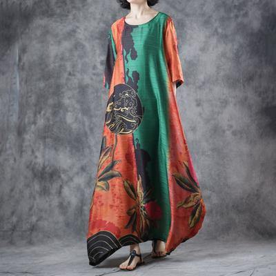 Organic green  Half Sleeve  dresses Fine Round Neck Loose Printed Dress