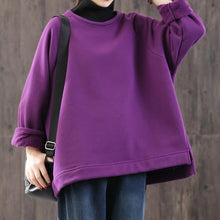Load image into Gallery viewer, Organic high neck cotton side open linen tops women blouses pattern purple winter shirts