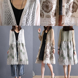 Organic khaki v neck linen clothes For Women lace patchwork Midi summer cardigan