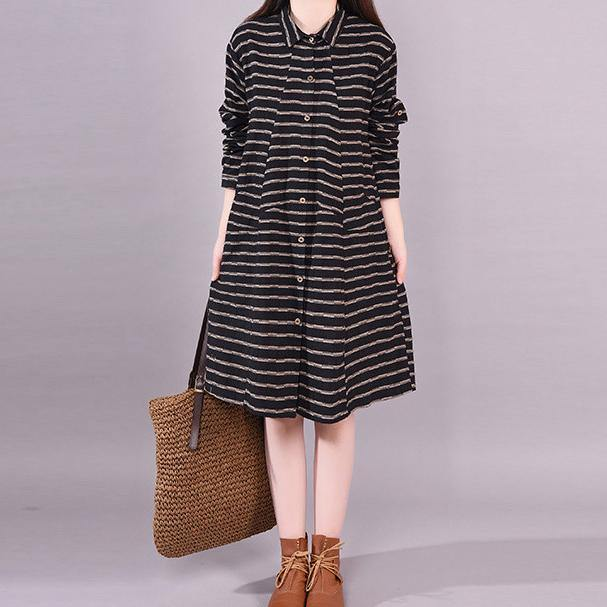 Organic lapel baggy Cotton dresses Wardrobes black striped Dresses