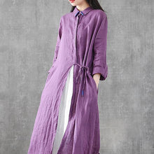 Load image into Gallery viewer, Organic lapel drawstring linen dresses Fashion Ideas purple Dress