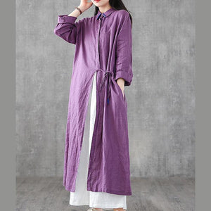 Organic lapel drawstring linen dresses Fashion Ideas purple Dress