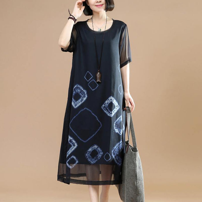 Organic layered clothes Work black floral Traveling Dresses summer