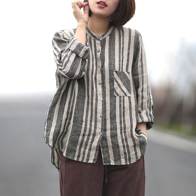 Organic linen clothes For Women Cotton Linen Stripe Single Breasted Shirt