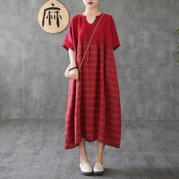 Organic linen clothes For Women Vintage Summer red Striped Maxi Half Sleeve Dress