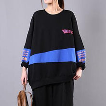 Load image into Gallery viewer, Organic o neck Letter cotton linen tops women Cotton blue shirt