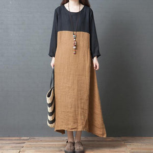 Organic o neck patchwork asymmetric linen clothes For Women Fashion Work khaki Maxi Dress