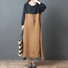 Load image into Gallery viewer, Organic o neck patchwork asymmetric linen clothes For Women Fashion Work khaki Maxi Dress