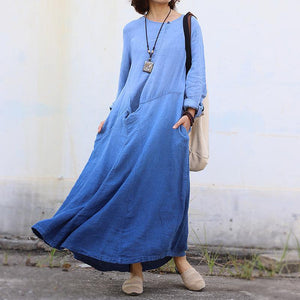 Organic o neck patchwork cotton linen spring quilting dresses Tutorials blue Dresses