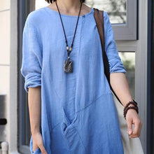 Load image into Gallery viewer, Organic o neck patchwork cotton linen spring quilting dresses Tutorials blue Dresses