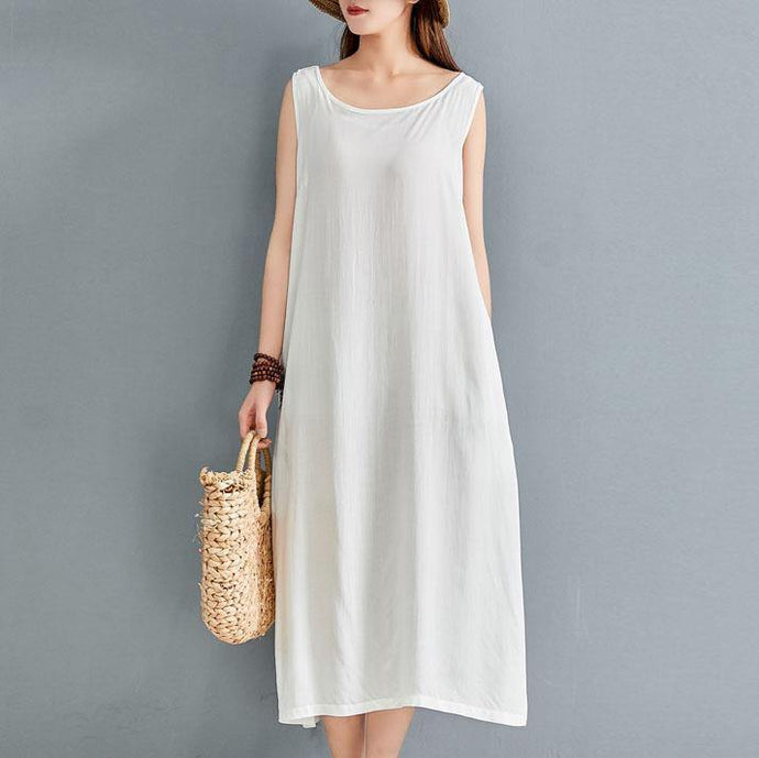 Organic o neck sleeveless linen dress Outfits white Dress summer