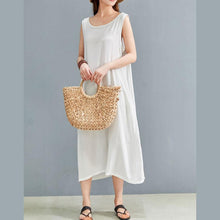 Laden Sie das Bild in den Galerie-Viewer, Organic o neck sleeveless linen dress Outfits white Dress summer