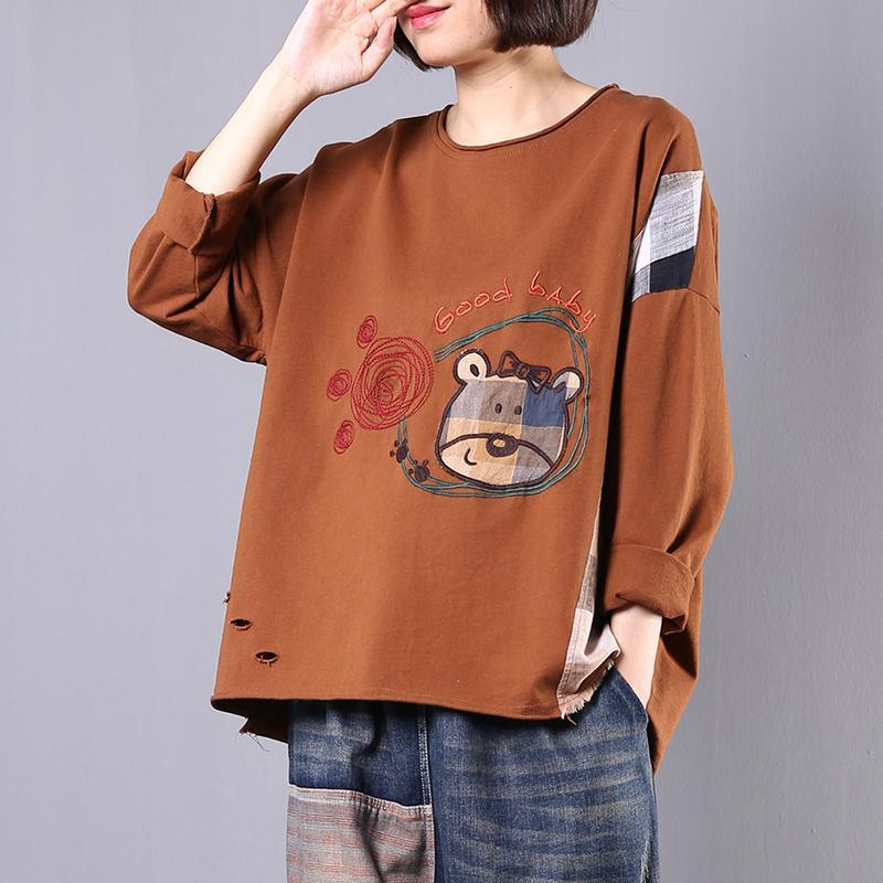 Organic patchwork cotton Blouse design khaki embroidery tops fall