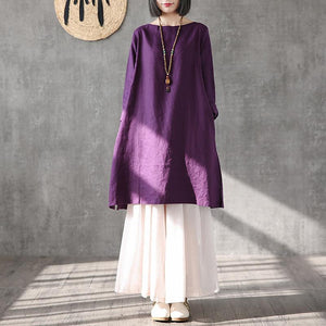 Organic purple linen Long Shirts o neck side open tunic summer Dresses