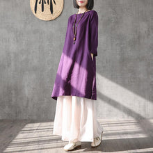 Load image into Gallery viewer, Organic purple linen Long Shirts o neck side open tunic summer Dresses