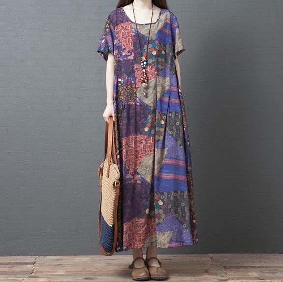 Organic purple print linen Wardrobes o neck pockets baggy Maxi summer Dress