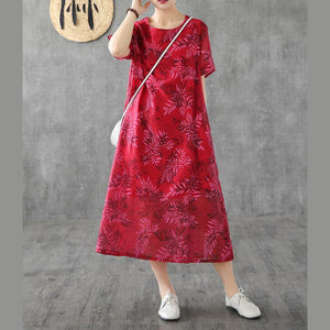 Organic red print linen Robes o neck short sleeve Kaftan Dress