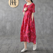 Load image into Gallery viewer, Organic red print linen Robes o neck short sleeve Kaftan Dress