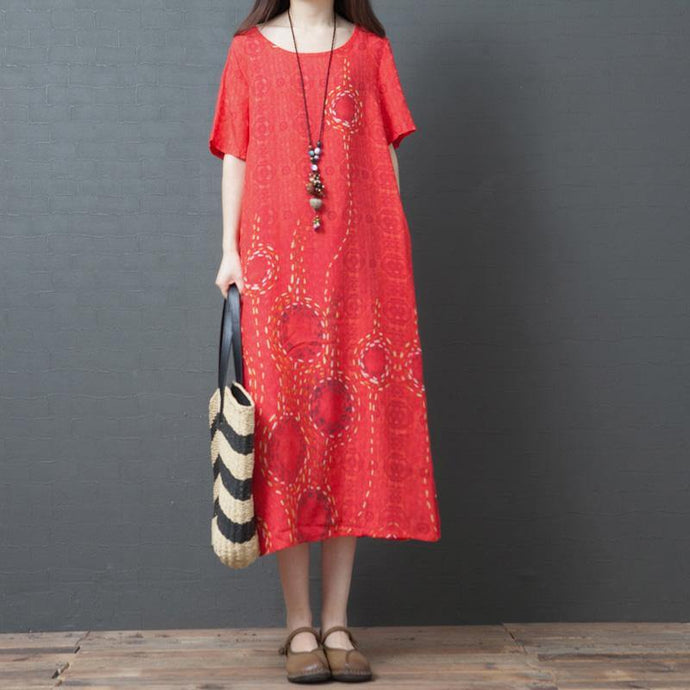 Organic red print linen Wardrobes o neck pockets Kaftan summer Dress