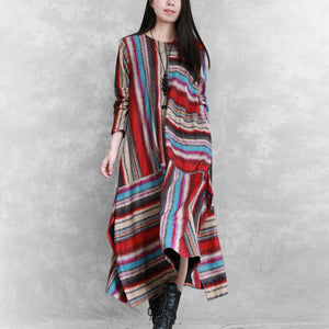 Organic side open linen cotton patchwork clothes For Women Neckline red striped Dress