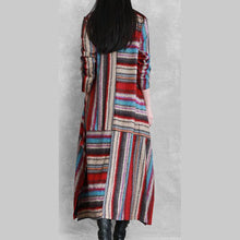 Load image into Gallery viewer, Organic side open linen cotton patchwork clothes For Women Neckline red striped Dress