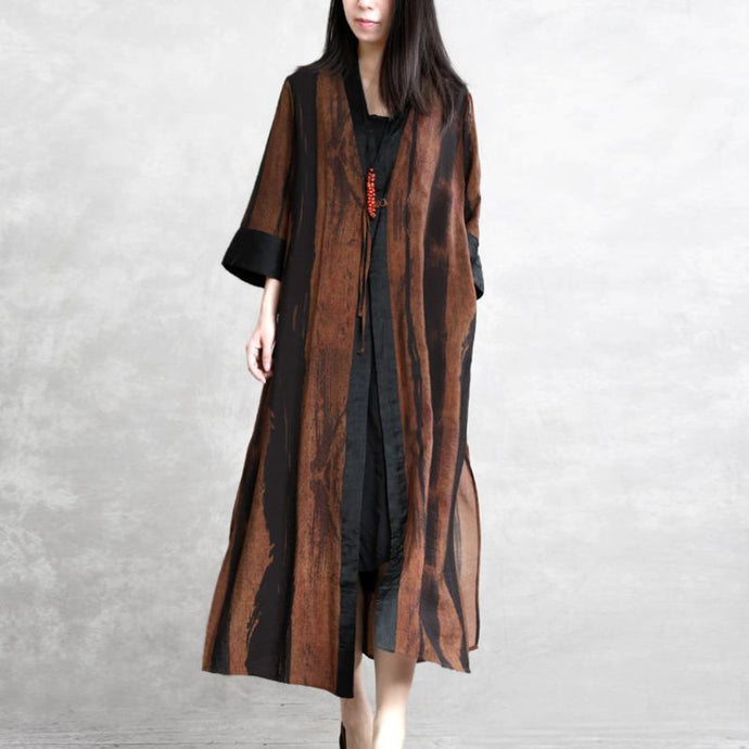 Organic side open linen outfit Plus Size Cotton brown long coats spring