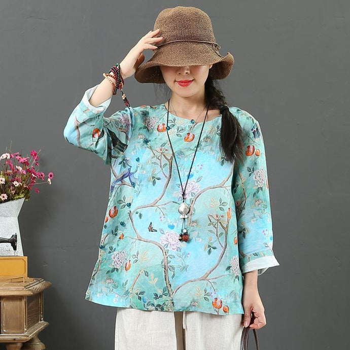 Organic side open linen tunics for women Fashion Ideas blue print tops fall