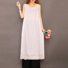 Laden Sie das Bild in den Galerie-Viewer, Organic sleeveless Jacquard cotton Soft Surroundings Shape white Dresses summer