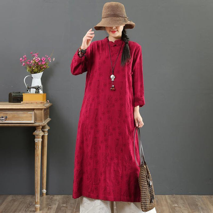 Organic stand collar Jacquard cotton clothes For Women design burgundy Maxi Dresses fall
