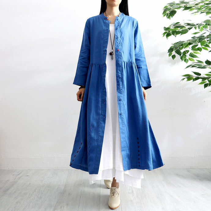 Organic stand collar linen clothes For Women Outfits blue coats autumn