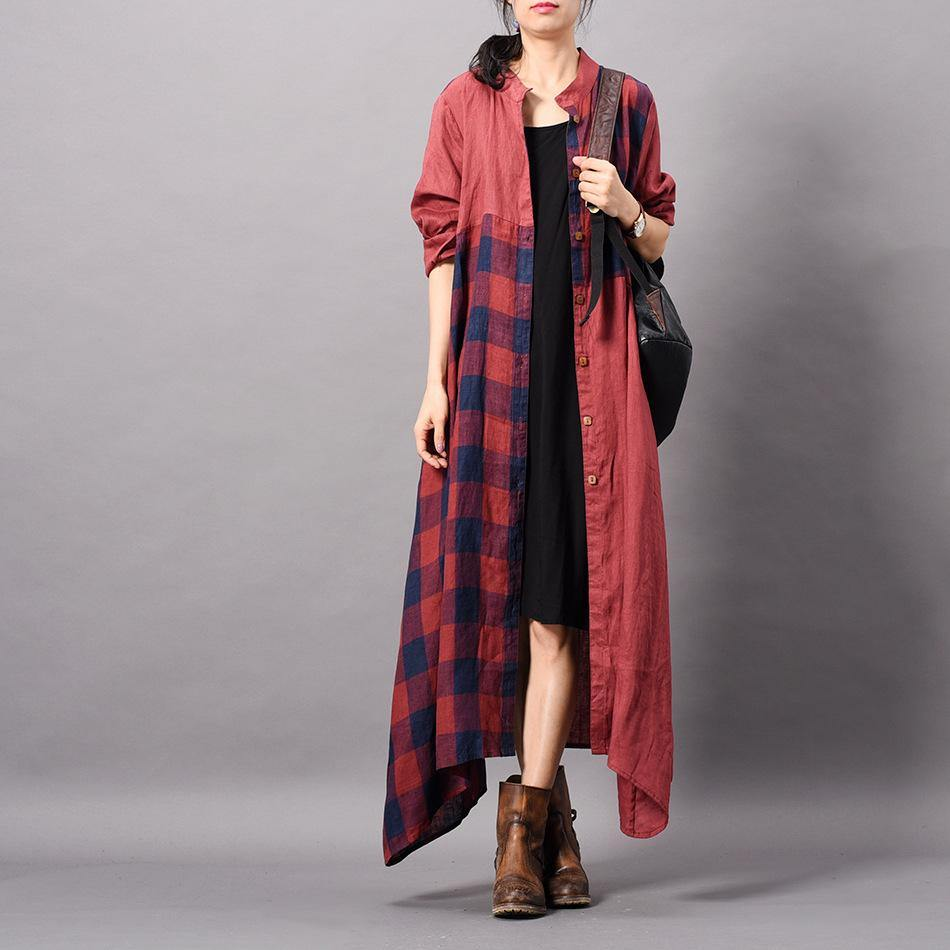 Organic stand collar patchwork linen clothes Korea Fabrics red plaid long Dress spring