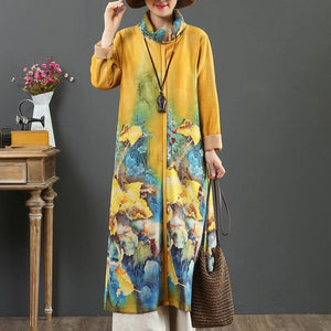 Organic thick cotton high neck clothes Women Sewing yellow loose Dresses