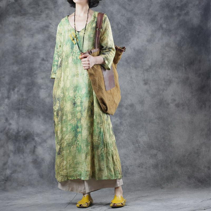 Organic v neck Chinese Button linen clothes Photography green print Dresses summer