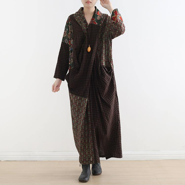 Organic v neck linen clothes Runway green patchwork Dress fall
