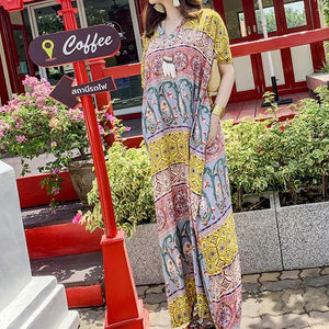 Organic v neck pockets quilting clothes floral Maxi Dresses