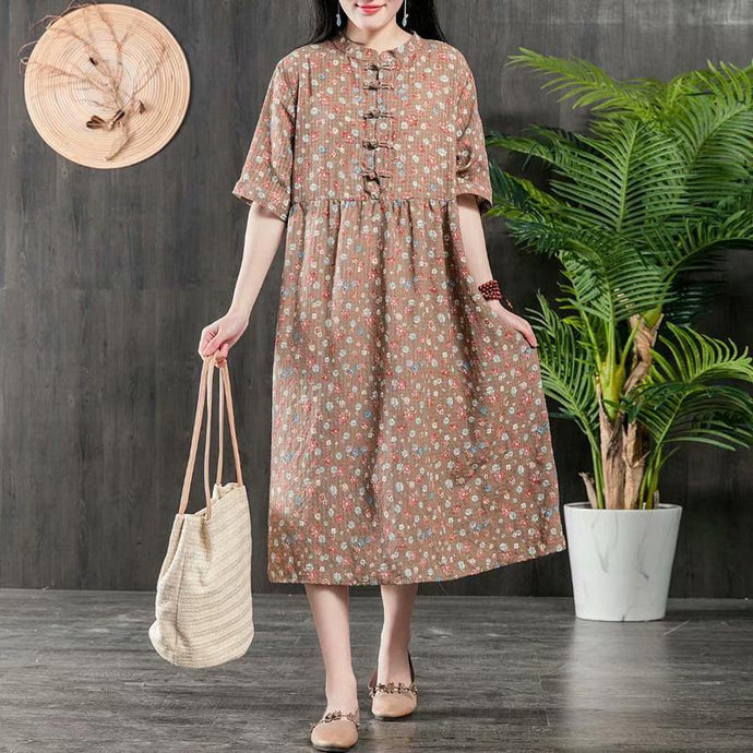 Organic wrinkled Cotton dress Fabrics khaki prints Dress summer