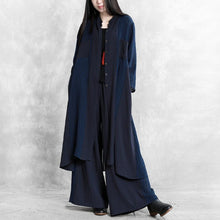 Load image into Gallery viewer, Original retro style casual suit female 2020 spring loose thin dark blue shirt wide leg pants