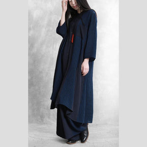 Original retro style casual suit female 2020 spring loose thin dark blue shirt wide leg pants